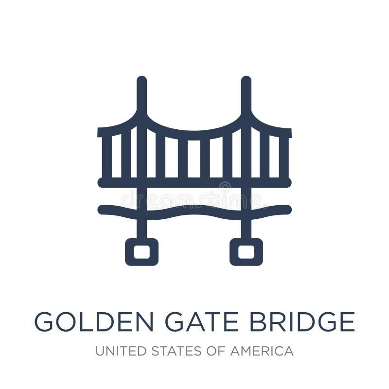 Icono de puente Golden Gate Puente Golden Gate plano de moda i del vector ilustración del vector