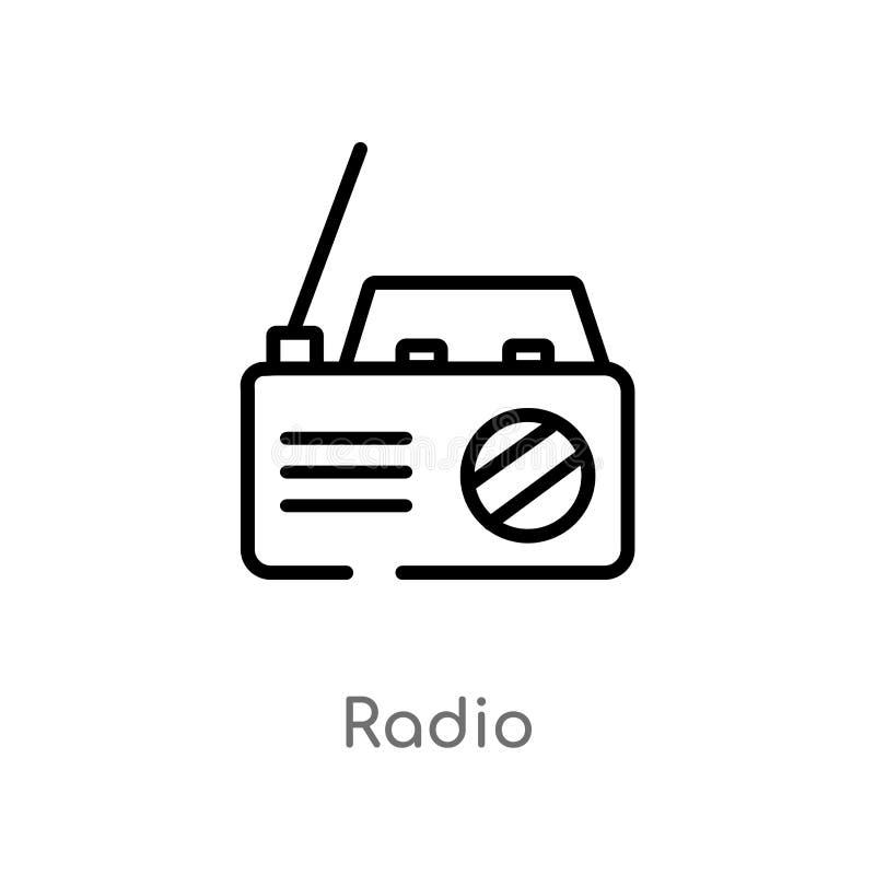 Icono de radio del vector del esquema línea simple negra aislada ejemplo del elemento del concepto electrónico del terraplén de l libre illustration