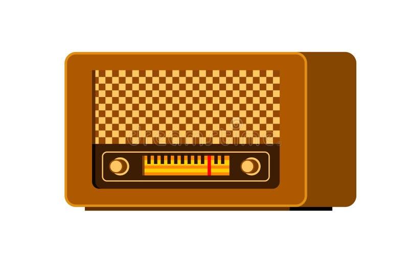 Icono de radio retro común Ejemplo plano del diseño de la comunicación de difusión de la emisión de radio del vintage libre illustration
