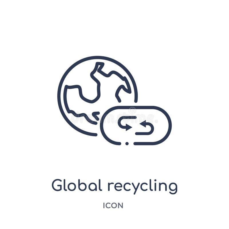 Icono de reciclaje global linear de la colección del esquema de la ecología Línea fina vector de reciclaje global aislado en el f libre illustration