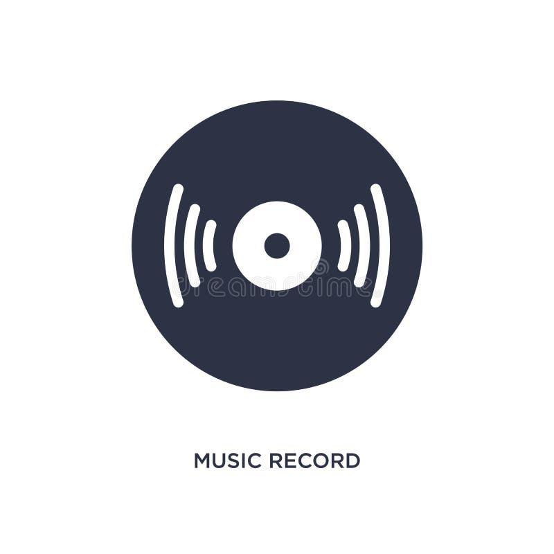 icono de registro de la música en el fondo blanco Ejemplo simple del elemento del concepto de la música stock de ilustración