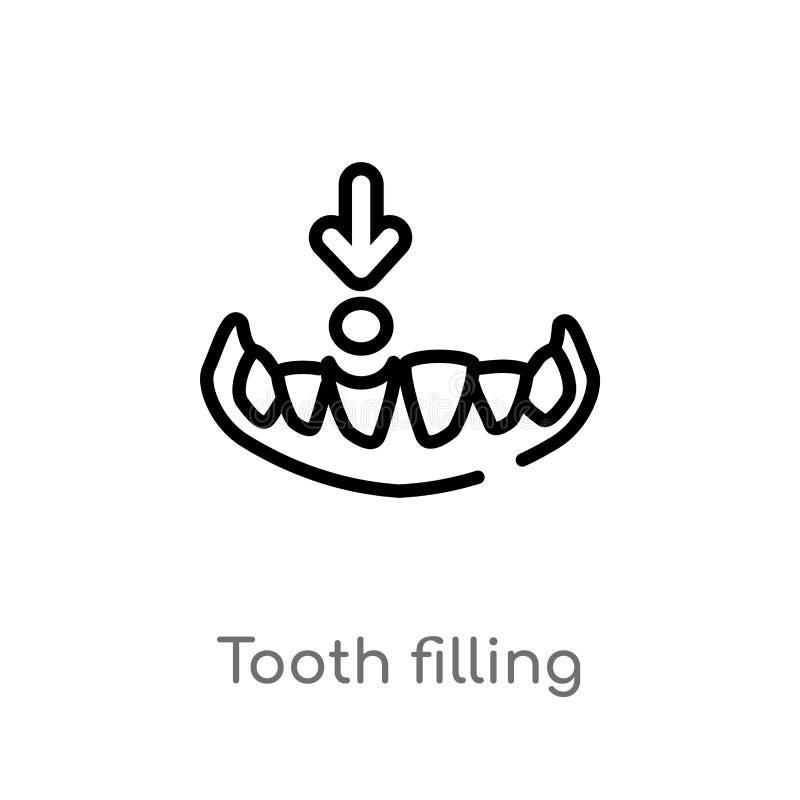 icono de relleno del vector del diente del esquema l?nea simple negra aislada ejemplo del elemento del concepto del dentista Movi libre illustration