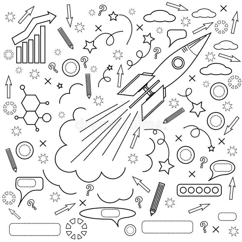 Icono de Rocket Concepto de éxito, iniciativas ilustración del vector