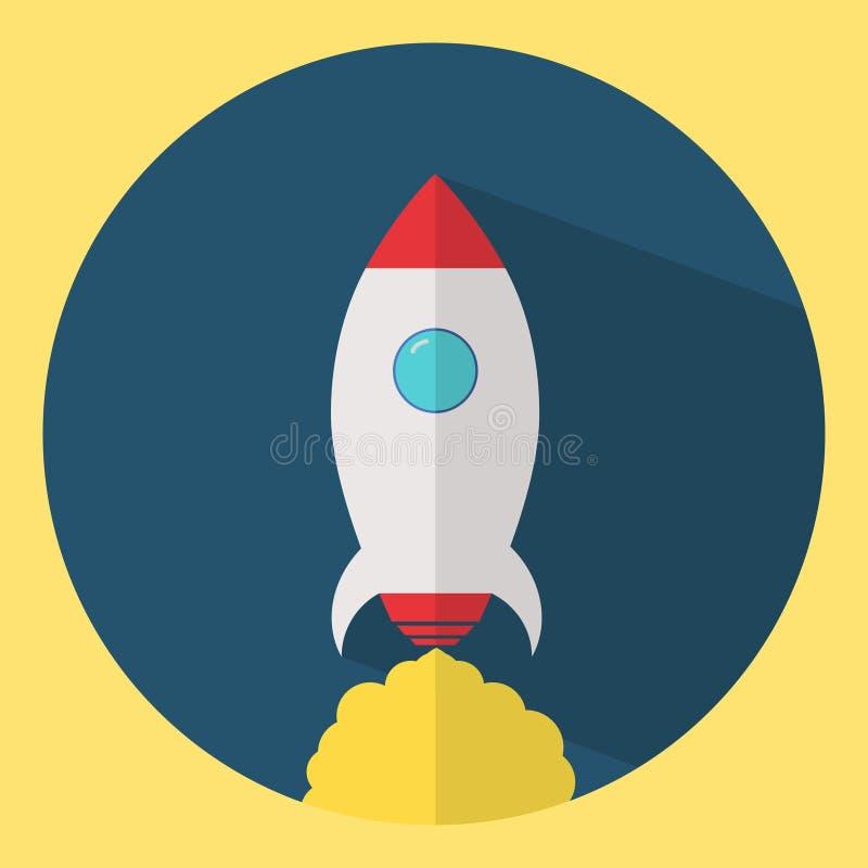 Icono de Rocket en diseño plano lanzamiento ilustración del vector