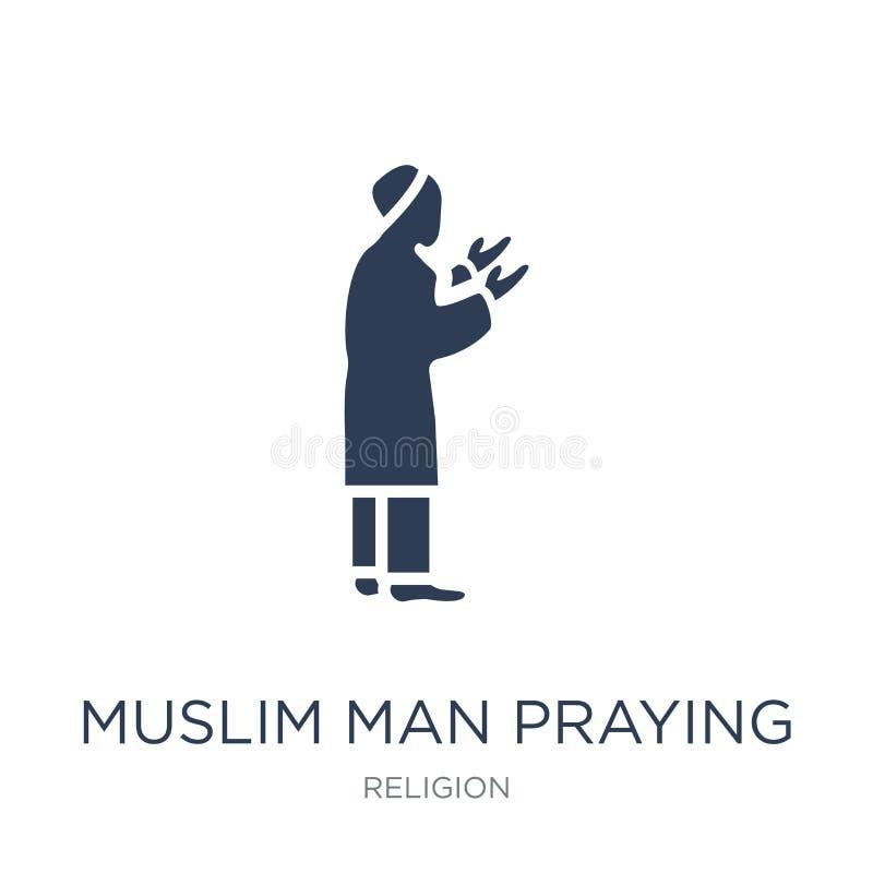 Icono de rogación del hombre musulmán Hombre musulmán del vector plano de moda que ruega i stock de ilustración