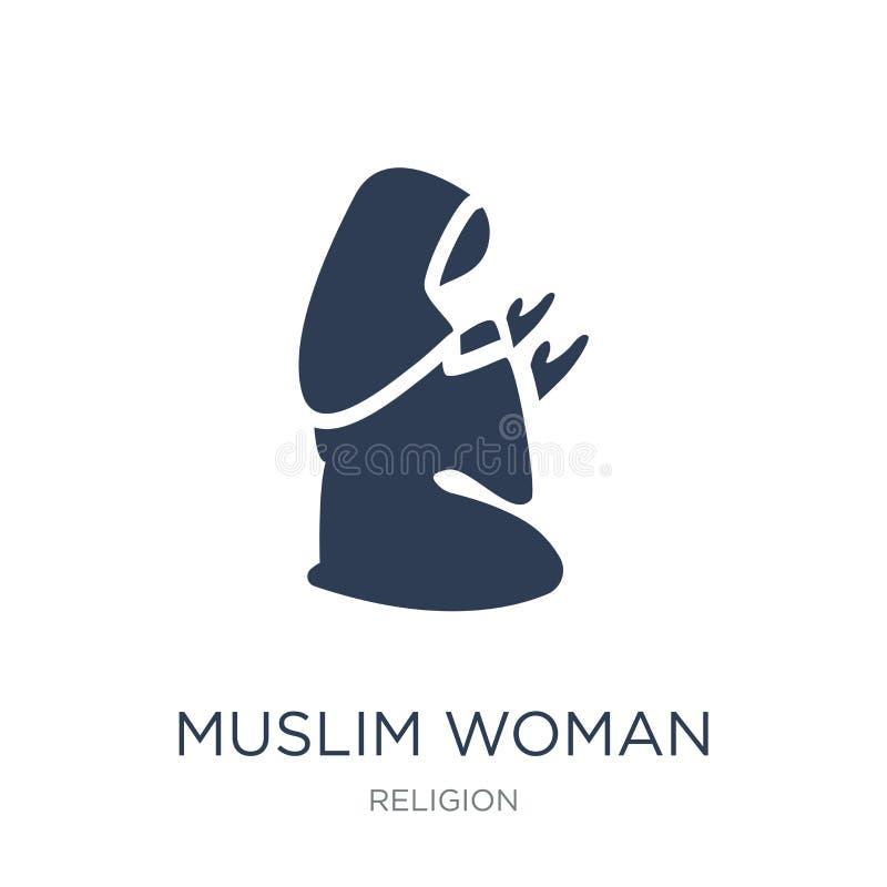 Icono de rogación de la mujer musulmán Mujer musulmán Prayi del vector plano de moda stock de ilustración