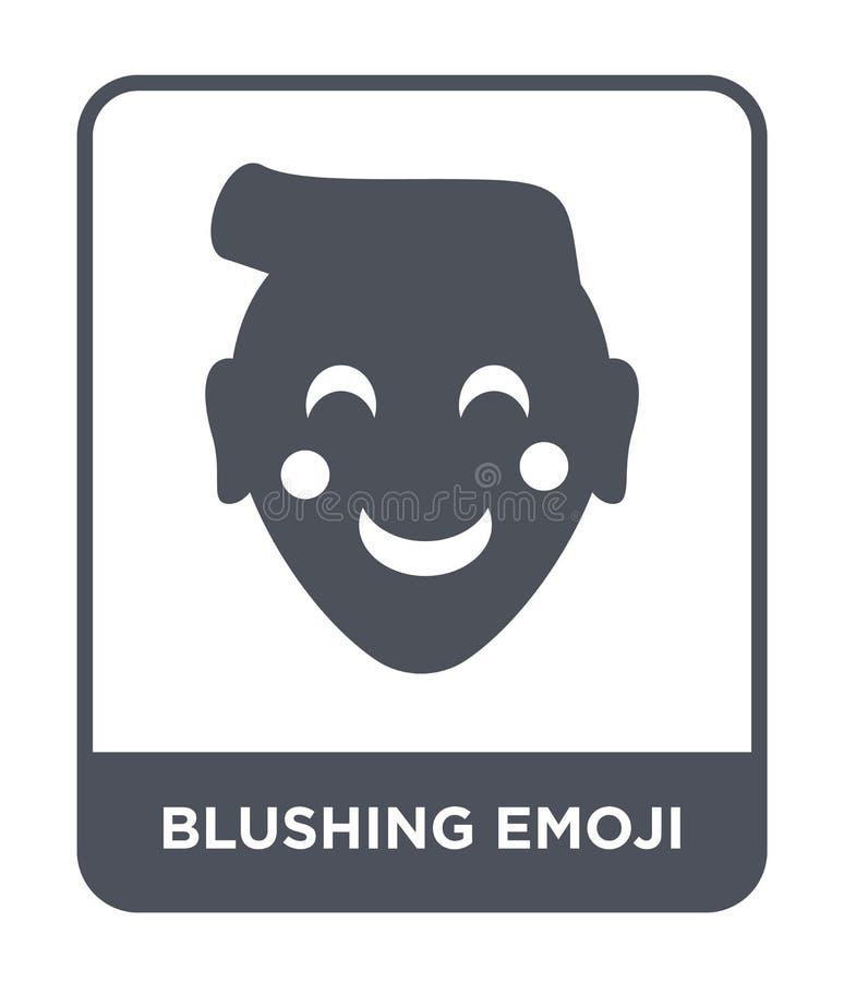 icono de ruborización del emoji en estilo de moda del diseño icono de ruborización del emoji aislado en el fondo blanco icono de  stock de ilustración