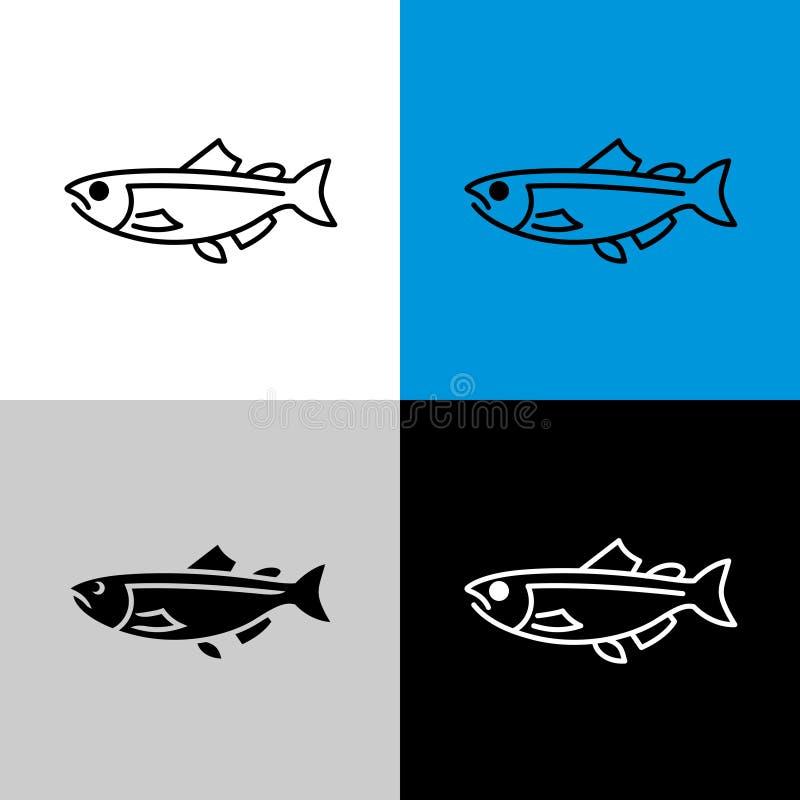 Icono de Salmon Fish Línea símbolo del estilo de salmones stock de ilustración
