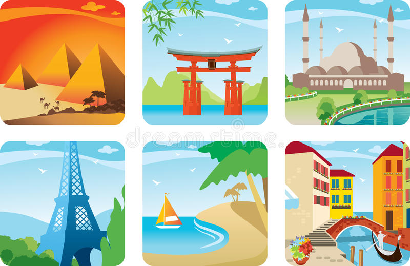 Icono de seis países ilustración del vector