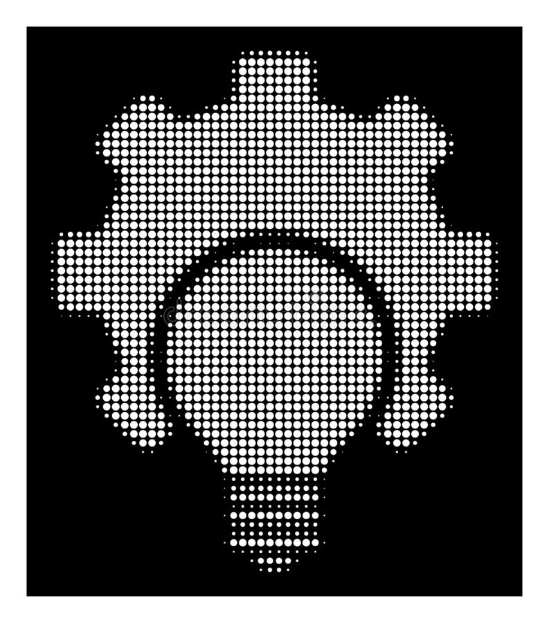 Icono de semitono blanco del engranaje de la configuración del bulbo ilustración del vector