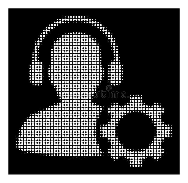 Icono de semitono blanco del engranaje de la configuración del operador stock de ilustración