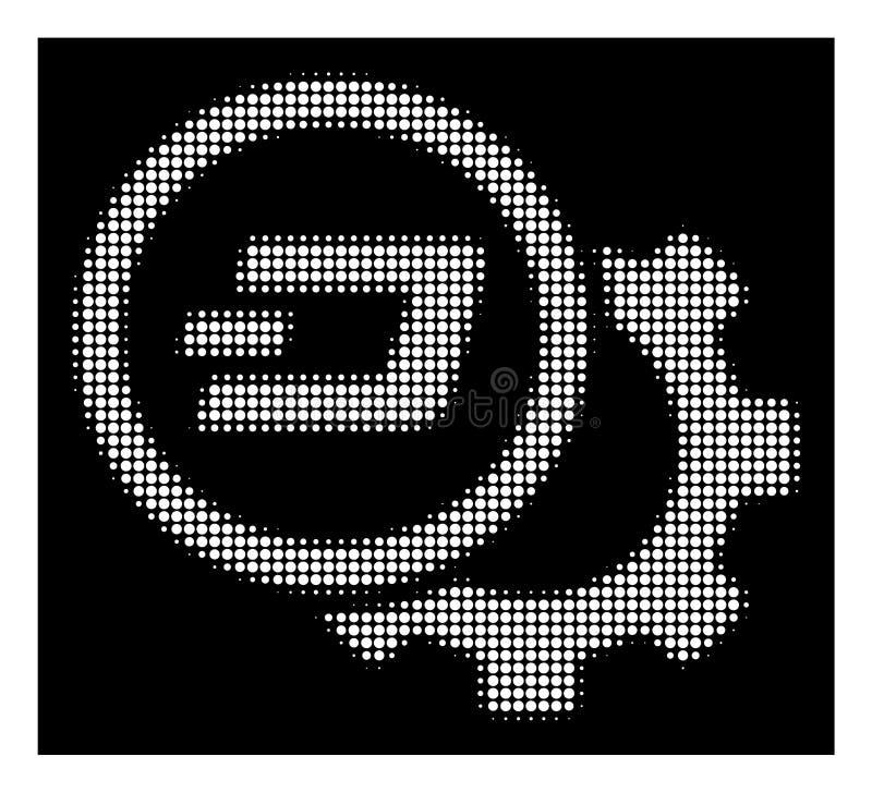 Icono de semitono blanco del engranaje de la configuración de la rociada libre illustration