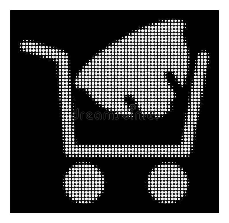 Icono de semitono blanco de las compras del casco stock de ilustración