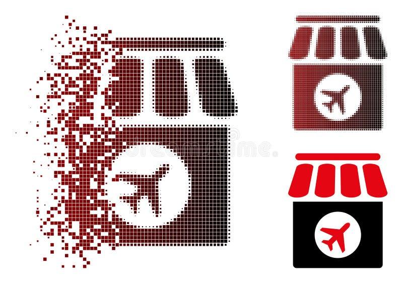 Icono de semitono dañado de la tienda con franquicia del pixel ilustración del vector