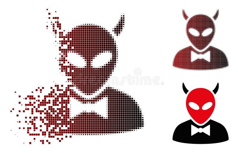 Icono de semitono del diablo del pixel del polvo ilustración del vector