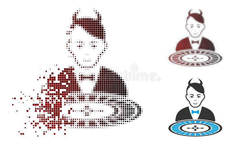 Icono de semitono del distribuidor autorizado de la ruleta del diablo del pixel del polvo stock de ilustración