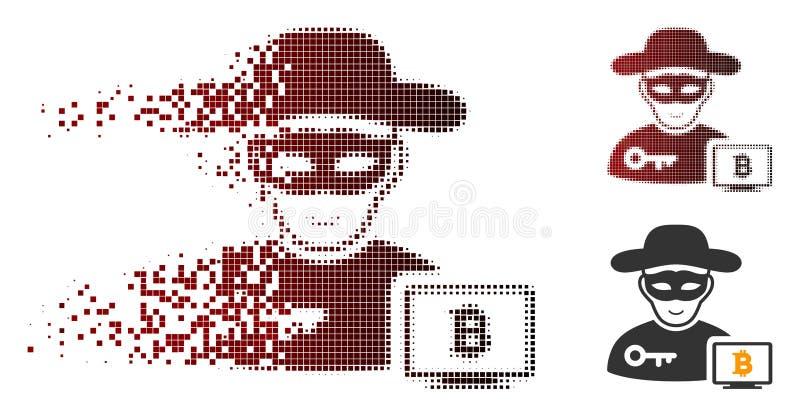 Icono de semitono del pirata informático de Bitcoin del pixel quebrado libre illustration