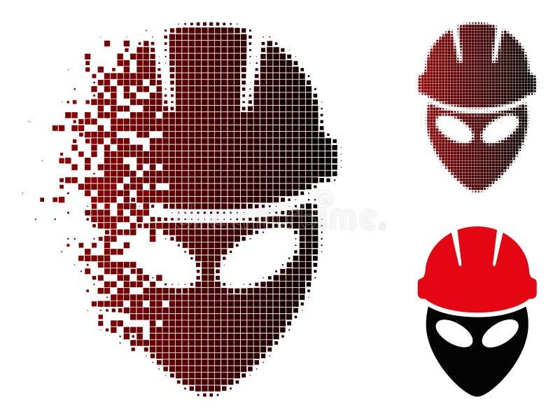 Icono de semitono del trabajador extranjero del pixel quebrado stock de ilustración