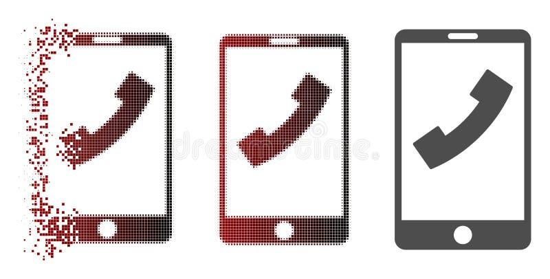 Icono de semitono descompuesto del teléfono celular de Pixelated ilustración del vector