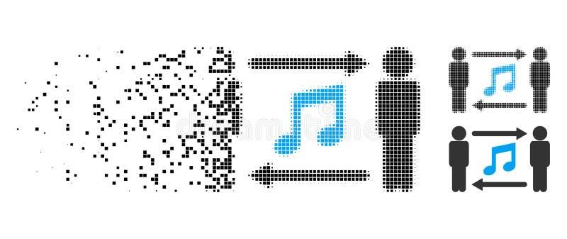 Icono de semitono de desintegración del intercambio de la música de las personas de Pixelated ilustración del vector
