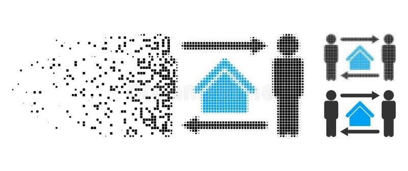 Icono de semitono destrozado del intercambio de casas de los hombres de Pixelated libre illustration