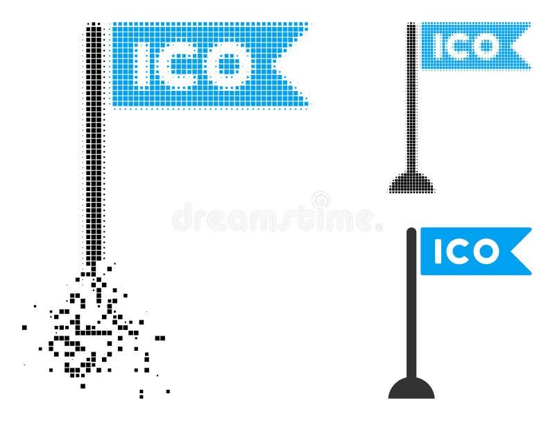 Icono de semitono destrozado del marcador de la bandera de Pixelated ICO stock de ilustración
