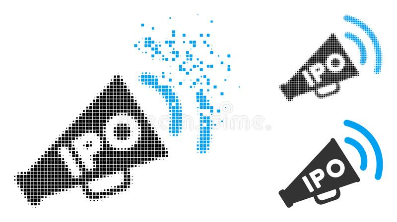 Icono de semitono destrozado del megáfono de las noticias de Pixelated IPO libre illustration