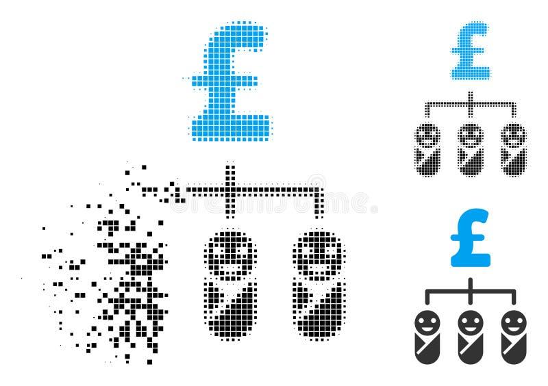 Icono de semitono destrozado del presupuesto de la libra del niño de Pixelated stock de ilustración