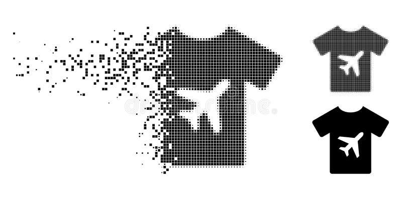 Icono de semitono destrozado de la camiseta del hombre de Pixelated stock de ilustración