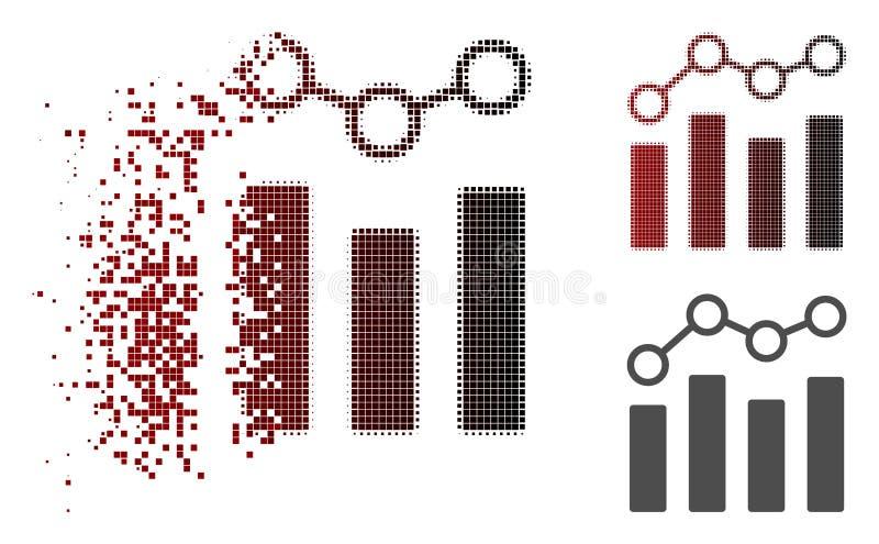 Icono de semitono destrozado de la carta de punto del pixel stock de ilustración