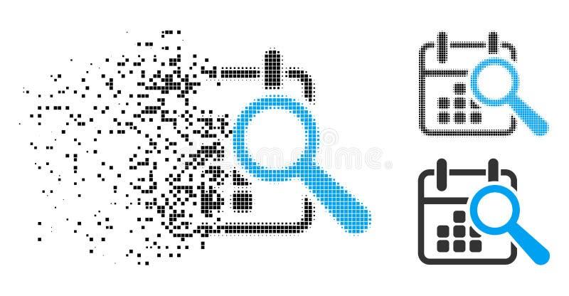 Icono de semitono destrozado de la fecha del hallazgo de Pixelated stock de ilustración