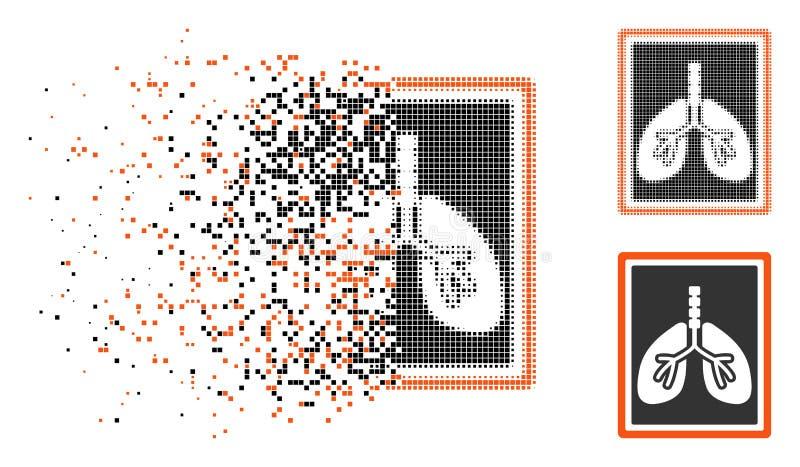 Icono de semitono destrozado de la foto de la radiografía de los pulmones de Pixelated ilustración del vector