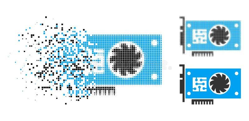 Icono de semitono destrozado de la trajeta aceleradora de Pixelated GPU ilustración del vector