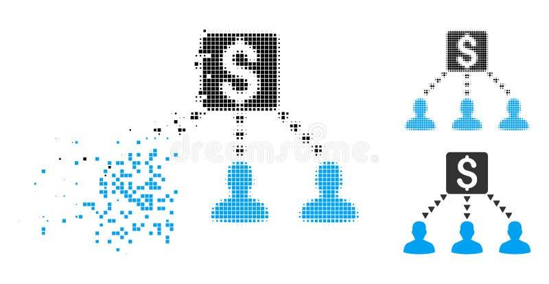 Icono de semitono destrozado de los beneficiarios del dinero de Pixelated ilustración del vector