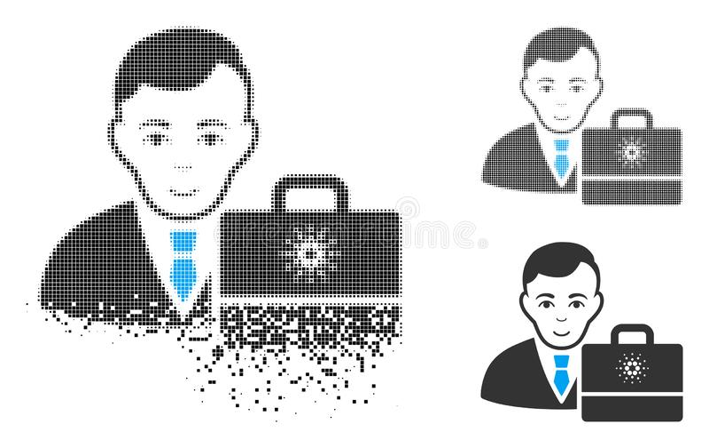 Icono de semitono destrozado de Pixelated Cardano Accounter con la cara stock de ilustración