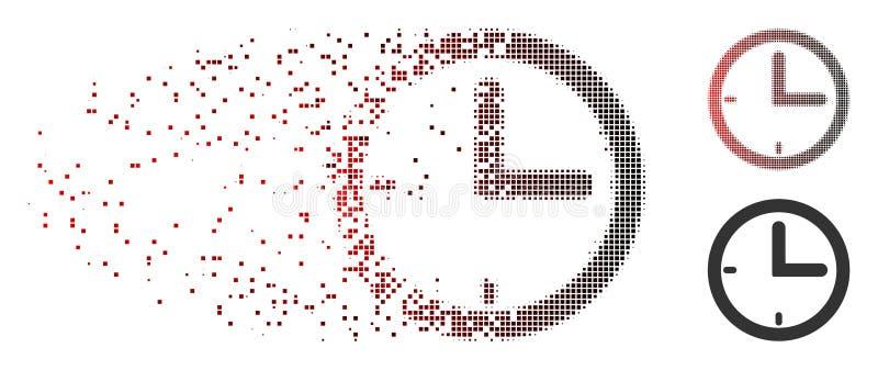 Icono de semitono Destructed del tiempo del pixel stock de ilustración