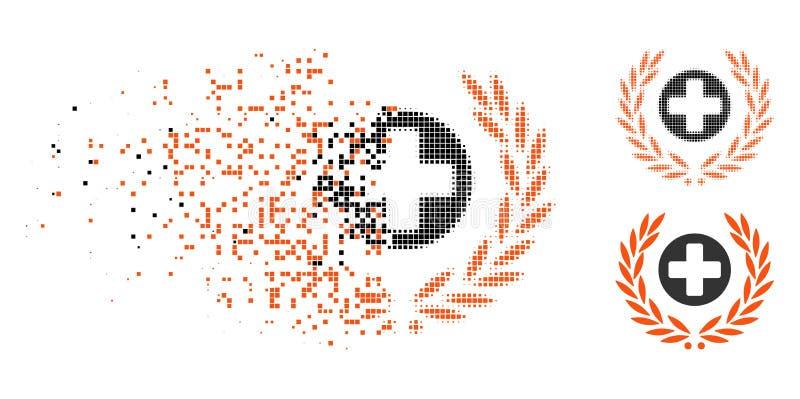 Icono de semitono Destructed de Embleme de la atención sanitaria de Pixelated stock de ilustración