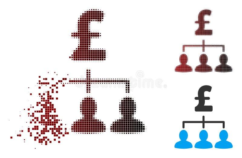 Icono de semitono Destructed de las relaciones del pago de la libra del pixel ilustración del vector