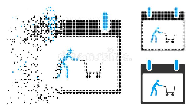 Icono de semitono disipado del día natural del carro de la compra de Pixelated libre illustration
