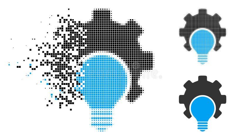 Icono de semitono disipado del engranaje de la configuración del bulbo de Pixelated stock de ilustración
