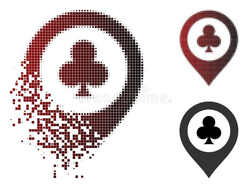 Icono de semitono de disolución del marcador del mapa del casino del pixel libre illustration