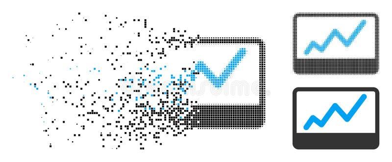 Icono de semitono de disolución de la carta del mercado de acción de Pixelated stock de ilustración