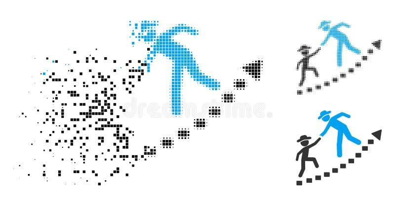 Icono de semitono disperso del crecimiento de la educación de los caballeros de Pixelated ilustración del vector