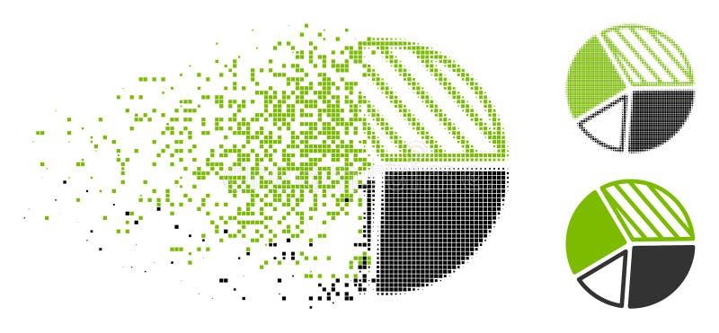 Icono de semitono disperso del gráfico de sectores de Pixelated stock de ilustración