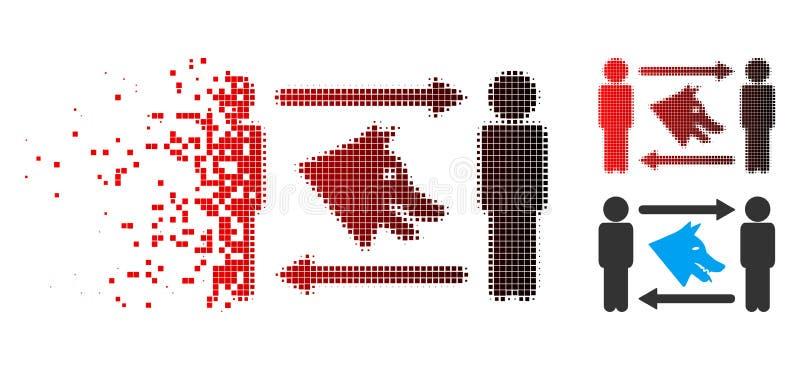 Icono de semitono disuelto del intercambio del perro de los hombres de Pixelated ilustración del vector