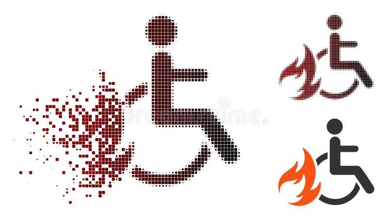 Icono de semitono disuelto del paciente de la quemadura del pixel stock de ilustración