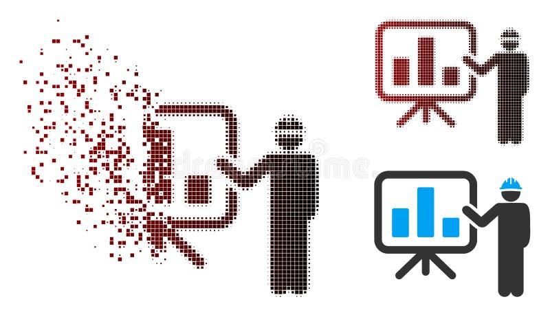 Icono de semitono disuelto de Pointing Chart Board del ingeniero del pixel libre illustration