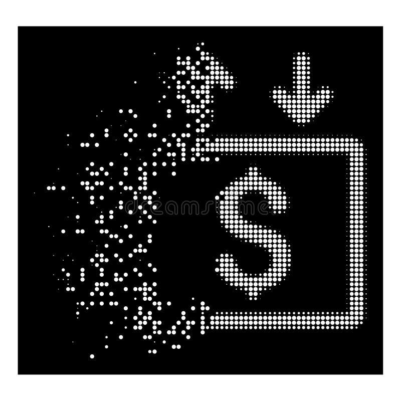 Icono de semitono fracturado blanco del elevador del dinero de Pixelated ilustración del vector
