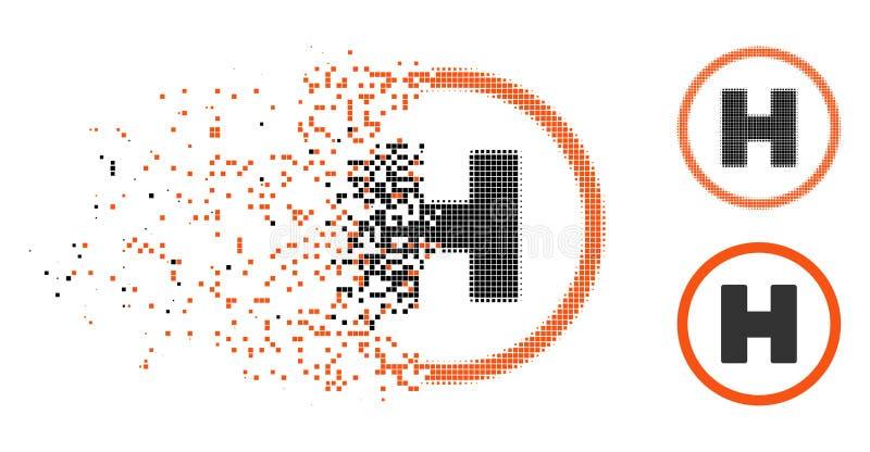 Icono de semitono fracturado del aterrizaje del helicóptero del pixel ilustración del vector