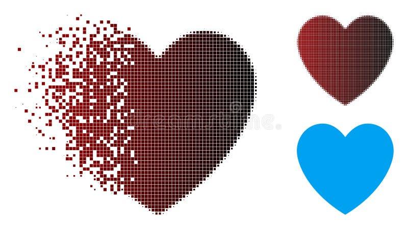 Icono de semitono fracturado del corazón del amor del pixel libre illustration